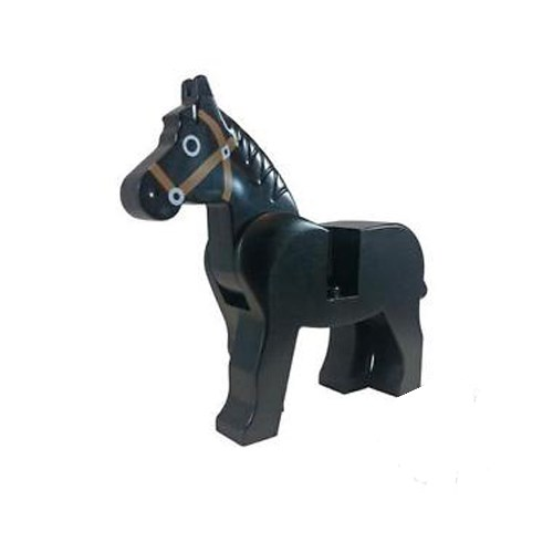 Horse with Black Eyes Circled with White, Brown Bridle Pattern - 4493c01pb02 LEGO